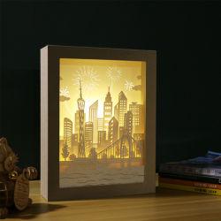 デザインペーパー切口3Dの影ライトフレームが付いているペーパー切り分けるLED夜ライトランプをカスタマイズしなさい