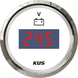52mm Blanc Faceplate jauge de tension DC Voltmètre numérique Volts rétro-éclairage LED pour Voiture Bateau Yacht universel