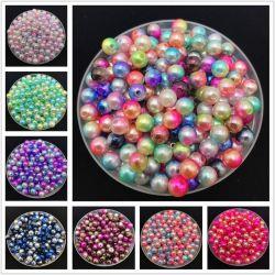 Il colore rotondo DIY del Rainbow del distanziatore della perla delle perle multicolori dell'imitazione di prezzi di fabbrica 6mm slaccia i branelli per il vestito nuziale
