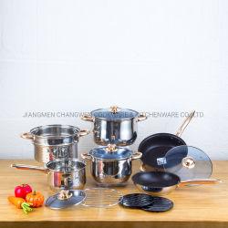 padella antiaderante stabilita del Cookware dell'acciaio inossidabile 13PCS con il vapore
