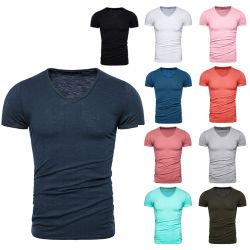 Shirt-Baumwolkurzes Hülsen-T-Stück 100% V-Stutzen Normallack der Männer