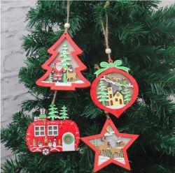 ديكورات شجرة عيد الميلاد زينة خشبية مضيئة زينة قلادة شجرة عيد الميلاد