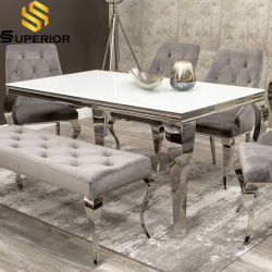 Nuevo diseño más moderno de bajo precio de venta de bastidor de acero de metal especial mesa de comedor de cristal