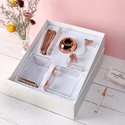 Las modernas de acrílico de oro rosa de suministros de oficina Productos del organizador China Girl Pack Papelería Regalos Set