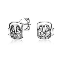 Sterlingsilber 925 CZ-Bier-Cup-Stift-Ohrring-Form-Schmucksachen