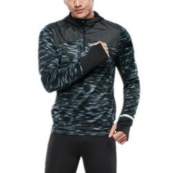طباعة كامو نصف بسحّاب الرجال جاف اللياقة البدنية هودي الرياضية الجري قميص مع حقيبة هاتف