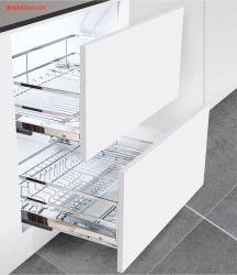 Muebles de alta calidad Accesorios de cocina cubiertos de metal deslizamiento suave de Armario de almacenamiento de la malla de alambre sacar canastos