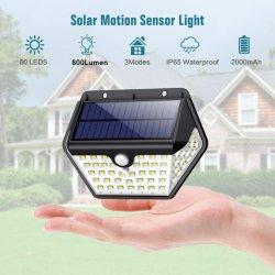 Il sensore di movimento solare impermeabile solare dell'indicatore luminoso 60 LED di obbligazione di vendita calda illumina la lampada da parete luminosa eccellente per la parete esterna