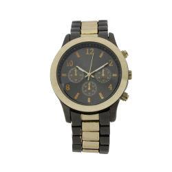 Einfaches Uhr IP, das schwarze Goldlegierung mit Edelstahl-Armbanduhr für Männer (JY-HJ001, überzieht)