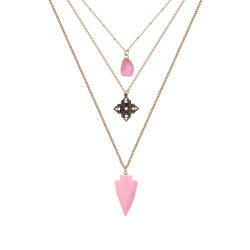 Lange Multi-Layer Gesneden Diamond-Studded Pink Natuurlijke Stenen Ketting