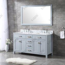 """60"""" Pia do banheiro vaidade definido com o branco italiano de mármore de Carrara Topo"""