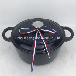 Destaca el esmalte azul utensilios de cocina cazuela de hierro fundido