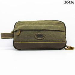Натуральная кожа Canvas косметический дорожные сумки плечевого сустава с помощью строп небольшой портфель для бумажника Man (30436)