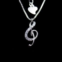 ミュージシャン向けのシルバーミュージックトレブルクレフハイノートリズムネックレス 結婚式の宝石類