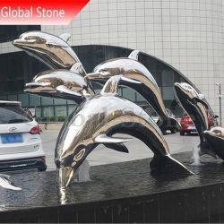 金属のクラフトの屋外ミラーの磨かれたステンレス鋼のイルカの彫刻(GSST-164)