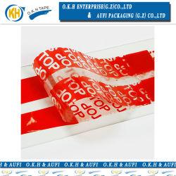 Avertissement de sécurité d'autosurveillance de couleur rouge ruban de protection de l'emballage Okh
