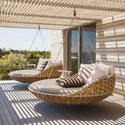 D'osier de plein air / Rattan Chaise de Salon pendaison lit de repos de pivotement