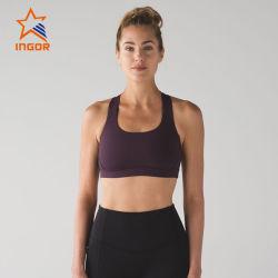 L'elastico su ordinazione di usura delle donne della cinghia registrabile dei vestiti attivi di ginnastica mette in mostra il reggiseno
