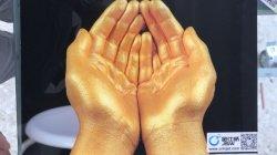 La impresora digital plana UV impresión en vidrio con color dorado