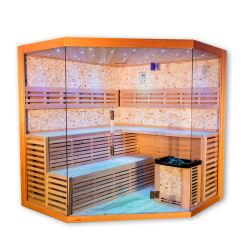 Handelsqualitäts-hölzerne grosse Größen-Luxuxfelsen-Salz-hölzerner Dampf-Sauna-Raum durch Stove für den 6 Leute-Hersteller