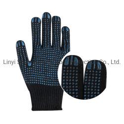 Одной стороны темно-синяя хлопка трикотажные перчатки с ПВХ синего цвета точек