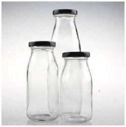 Leite transparente e suco garrafa de vidro com tampas metálicas 250ml 500ml 1000ml