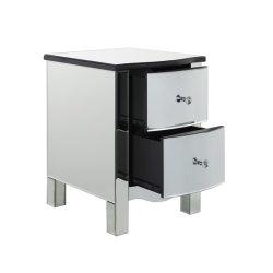 Moderno de alta calidad de MDF de cristal de Espejo Espejo cabecera pecho armario mesita de noche con cajones