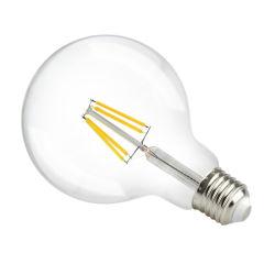 4W, 6W, 8W, 10W, 12W, 15W G125 Lámparas LED de luz regulable, AC230V luz LED, todos los filamentos de vidrio de filamento foco LED