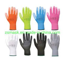 13G de poliéster com floral colorido imprime, PU (poliuretano) Revestidos, luvas de trabalho