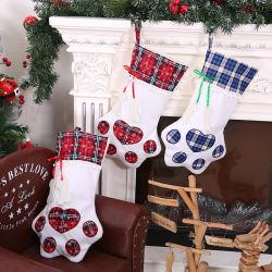 즐거운 성탄 주제 선물 부대 귀여운 개 클로 스타킹