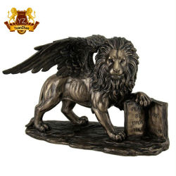 Потеря воск Литые бронзовые статуи крылатый лев с Open book статую для украшения для установки вне помещений