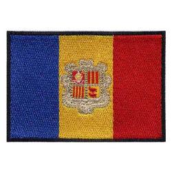 Andorra bordados Bandera personalizada plancha nacional militar sobre el parche para la ropa