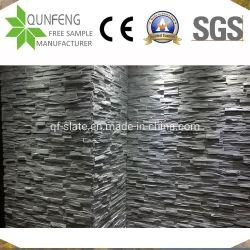 China-natürliches Riss Gesicht gestapelter Ledgestone Furnier-Blattschwarz-Kultur-Schiefer