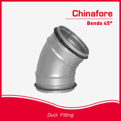 Conducto helicoidal galvanizado codo de 45 grados para doblar el sistema de ventilación
