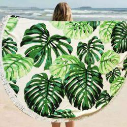 Multifunctioneel gebruik speciaal bedrukt zandvrij Extra groot 100% polyester Microvezel ronde handdoek met modieuze witte kwastjes voor strandgebruik