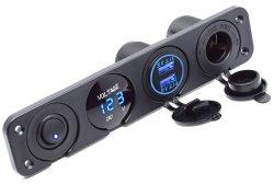 De dubbele Lader van de Contactdoos USB + LEIDENE Voltmeter + 12V de Afzet van de Macht + aan-uit- Knevelschakelaar Vier het Comité van Functies voor GPS Mobiles van de Voertuigen van de Kampeerauto van de Vrachtwagen van de Boot Mariene rv van de Auto