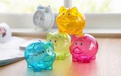 昇進のギフトの貯金箱、ブタはプラスチックお金の硬貨のセービングボックスを形づけた