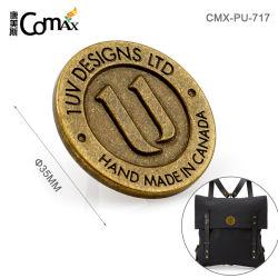 Аксессуары для подушек безопасности старинные латунные рельефным логотипом металла, металлическая пластина с логотипом круглой формы для сумки