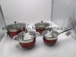 Het Kokende die Roestvrij staal Cookware van de keuken met het Schilderen wordt geplaatst