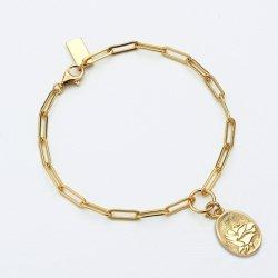 ハンドメイドのローズパターン18K金は925 Sitrlingの銀製のブレスレットの宝石類をめっきした