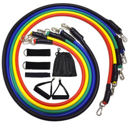 11pcs Crossfit la resistencia del tubo de bandas de goma de la formación de estiramiento Conjunto de tubos de expansor de Pilates Fitness el equipo de cuerda elástica de goma