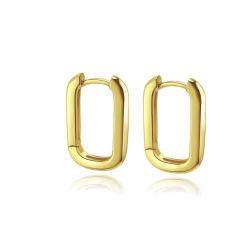 Minimale Juwelen 925 de Zilveren Duidelijke Gouden Grote Vierkante Verklaring van de Oorringen van de Hoepel