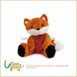 柔らかいプラシ天動物のブラウン及び白いプラシ天Foxの人形