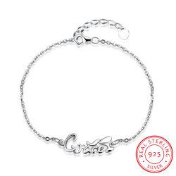 Romántico 925 Libras esterlinas pulsera de acero colgante de diseño de carta para la Mujer Venta caliente joyas