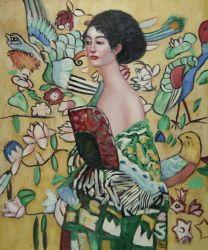 Klimt01 Peinture d'huile pour la décoration d'accueil