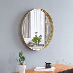 نوع ذهب مستديرة جدار شكّل مرآة, معدن جدار مستديرة يعلى مرآة زخرفيّة مع زخرفة حديثة معاصرة لأنّ [إنتروي], غرفة حمّام, يعيش غرز, تفاهة