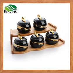 5 Piezas sazonador de cerámica Bote con rack de bambú