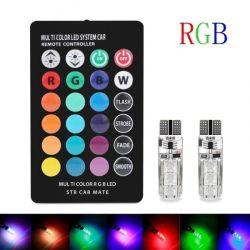 T10 RGB LEDの穂軸の多彩なフラッシュリモート・コントロール表示燈の球根リモート・コントロール車の幅ライトストロボライト大気ライト