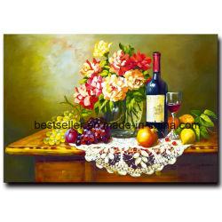 Gran Ilustración pintada a mano Pinturas al Óleo sobre lienzo, Bodegón Flor