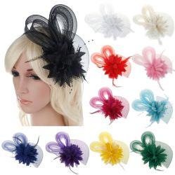신부 들러리 꽃 머리 장식적인 기털 꽃 실크 꽃 머리 머리띠